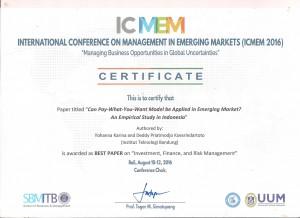 YK DPK best Paper ICMEM